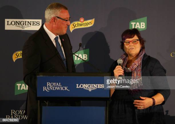 Debbie Kepitis part owner of 'Winx' is interviewed by Greg Radley during The Championships Day 2 Barrier Draw at Royal Randwick Racecourse on April 4...