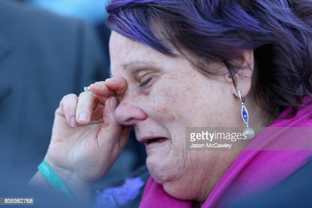 Debbie Kepitis part owner of Winx reacts after the Warwick Stakes during Sydney Racing at Royal Randwick Racecourse on August 19 2017 in Sydney...