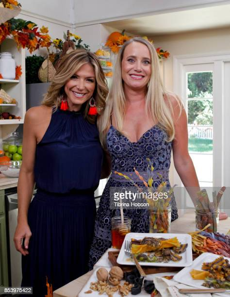 Debbie Matenopoulos and Linda Miller Nicholson pose for a photo on the set of Hallmark's 'Home and Family' at Universal Studios Hollywood on...