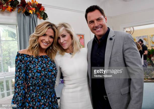 Debbie Matenopoulos Judith Light and Mark Steines pose for a photo on the set of Hallmark's 'Home and Family' at Universal Studios Hollywood on...