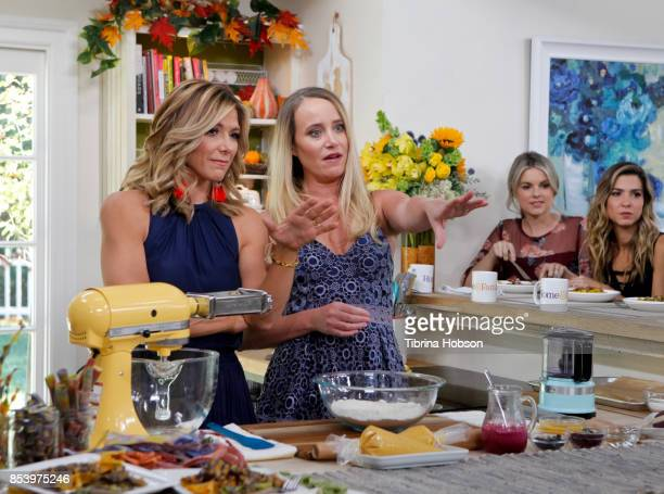 Debbie Matenopoulos Linda Miller Nicholson Ali Fedotowsky and Orly Shani talk on the set of Hallmark's 'Home and Family' at Universal Studios...