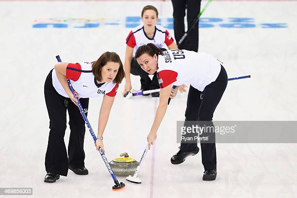 Debbie McCormick and Ann Swisshelm of United States compete during the Curling Women's Round Robin match between United States and Republic of Korea...