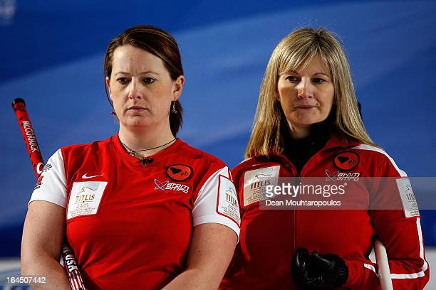 Debbie McCormick and Erika Brown of USA look on in the Bronze medal match between USA and Canada on Day 9 of the Titlis Glacier Mountain World...