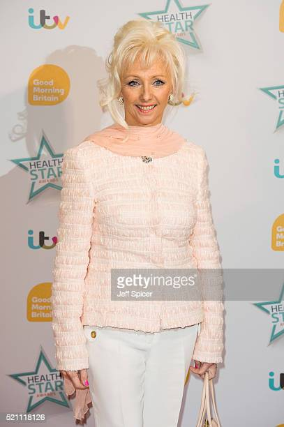 Debbie McGee arrives for Good Morning Britain's Health Star Awards at Hilton Park Lane on April 14 2016 in London England