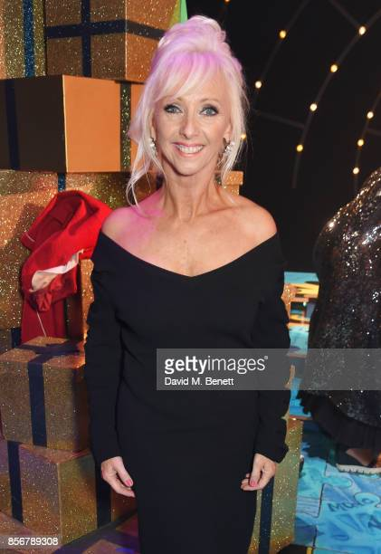 Debbie McGee poses backstage following the cast change press night performance of 'Annie' at The Piccadilly Theatre on October 2 2017 in London...