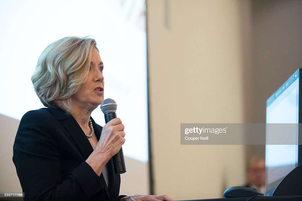 Debbie Taylor of CITI speaks during the Neighbor Up news conference at UNT Dallas on May 27, 2016 in Dallas, Texas.