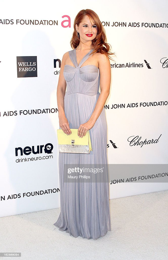 Debby Ryan arrives at the 21st Annual Elton John AIDS Foundation Academy Awards Viewing Party at Pacific Design Center on February 24, 2013 in West Hollywood, California.