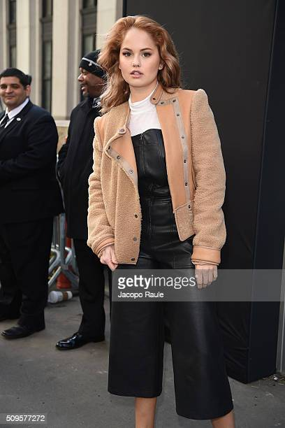 Debby Ryan is seen arriving at BCBGMAXAZRIA fashion show during Fall 2016 New York Fashion Week at Skylight Moynihan Station on February 11 2016 in...