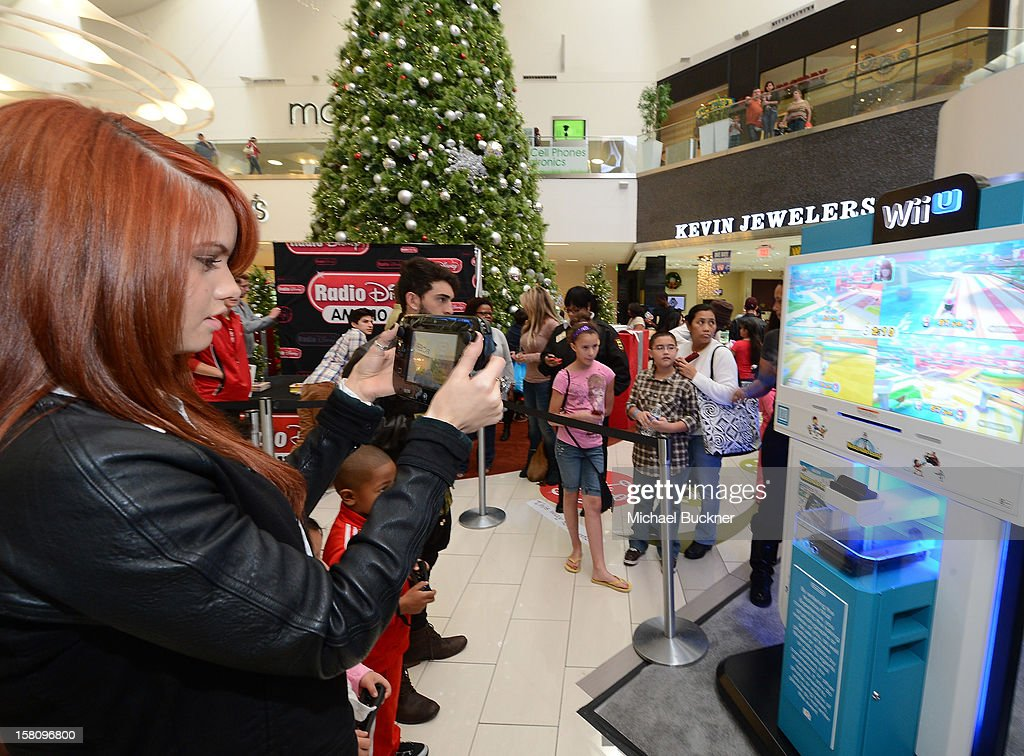 Debby Ryan star of Disney XD's hit series 'Kickin' It' gets ready to battle in the Wii U Showdown at Westfield Century City Mall in Los Angeles on December 9, 2012. Wii U is one of Nintendo's hottest items of the holiday season.