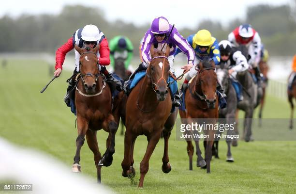 Debdebdeb ridden by Thomas Brown is awarded the win after a stewards enquiry after the initial winner Pivotal Science ridden by Jim Crowley is...