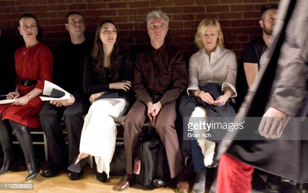 Debi Mazar and David Byrne during MercedesBenz Fashion Week Fall 2007 Anne Klein Front Row and Backstage at The Waterfront in New York City New York...