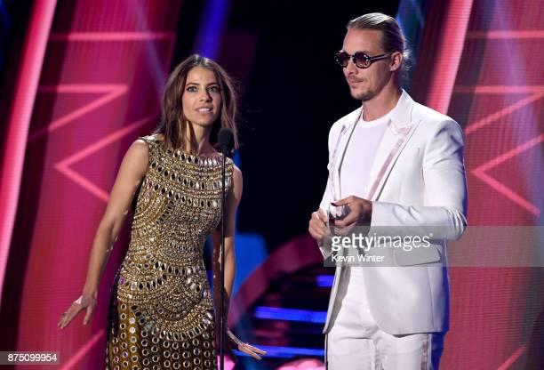 Debi Nova and Diplo speak onstage at the 18th Annual Latin Grammy Awards at MGM Grand Garden Arena on November 16 2017 in Las Vegas Nevada
