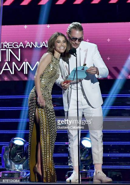 Debi Nova and Diplo speak onstage during The 18th Annual Latin Grammy Awards at MGM Grand Garden Arena on November 16 2017 in Las Vegas Nevada