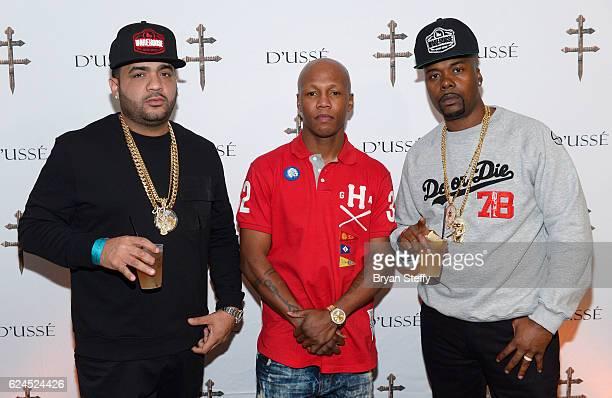 Debo professional boxer Zab Judah and rapper Memphis Bleek attend the D'USSE Lounge at Kovalev vs Ward at TMobile Arena on November 19 2016 in Las...