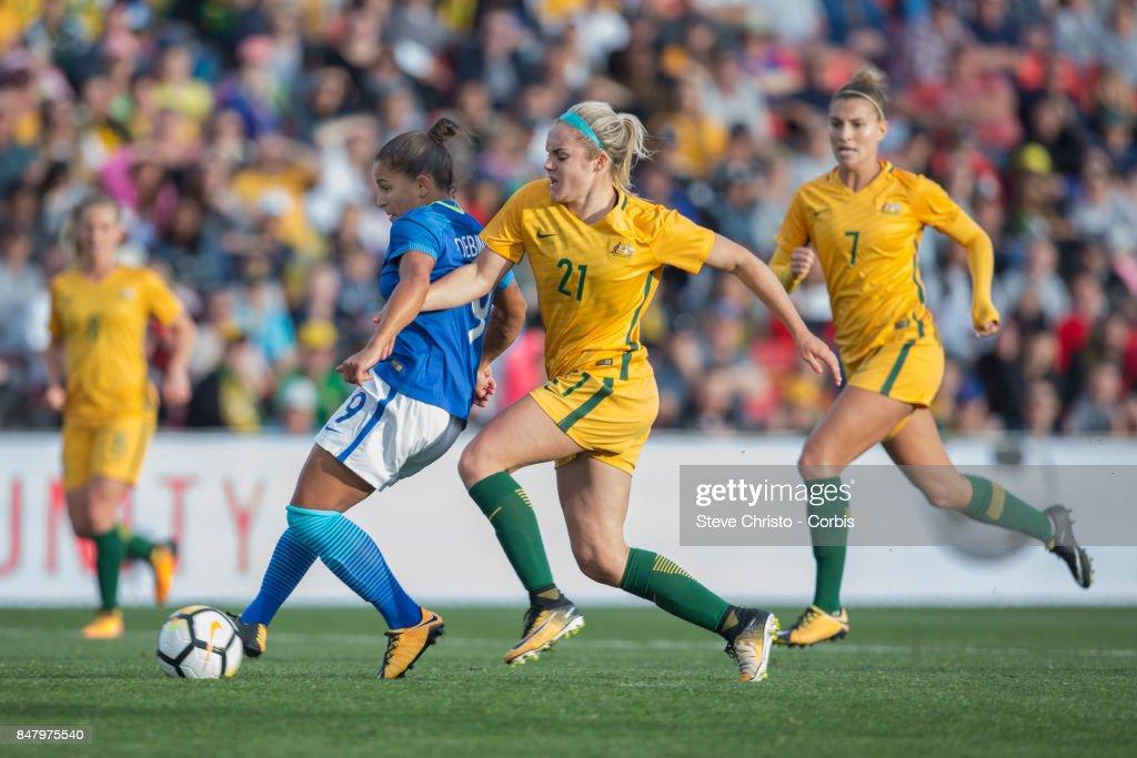 Debora Cristiane de Oliveira scoes of Brazil scores during the women's international match between the Australian Matildas and Brazil at Pepper Stadium on September 16, 2017 in Sydney, Australia.