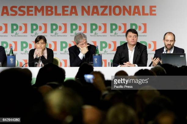 Debora Serracchiani Paolo Gentiloni PD Secretary Matteo Renzi and Matteo Orfini attend the Italian Democratic Party PD National Assembly