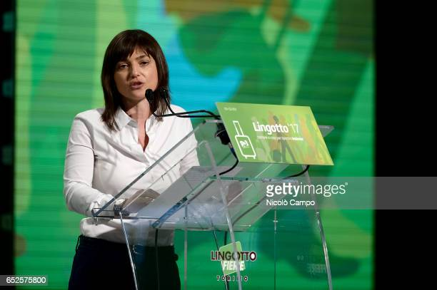 Debora Serracchiani President of FriuliVenezia Giulia speaks on stege during an electoral rally for the election of Matteo Renzi as Secretary of...