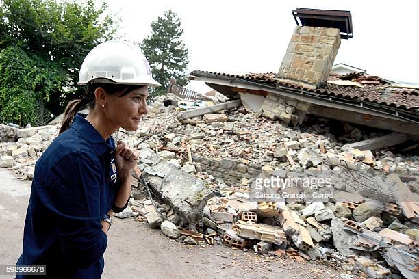 Debora Serracchiani President of the Autonomous Region of FriuliVenezia visits the earthquake areas on August 31 2016 in Amatrice Italy The region...