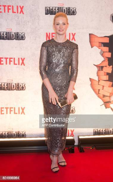 Deborah Ann Woll arrives for the Netflix premiere of Marvel's 'The Defenders' on July 31 2017 in New York / AFP PHOTO