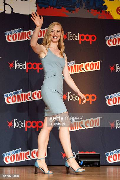 Deborah Ann Woll attends the Netflix Original Series 'Marvel's Daredevil' New York ComicCon Panel Cast Signing at the Javits Center on October 11...