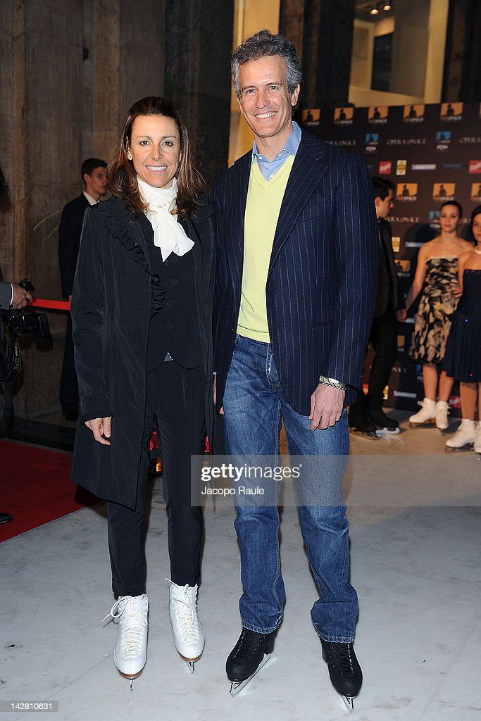 Deborah Compagnoni and <a gi-track='captionPersonalityLinkClicked' href=/galleries/search?phrase=Alessandro+Benetton&family=editorial&specificpeople=2389660 ng-click='$event.stopPropagation()'>Alessandro Benetton</a> attned 'Opera On ice' - Milan Premiere on April 12, 2012 in Milan, Italy.