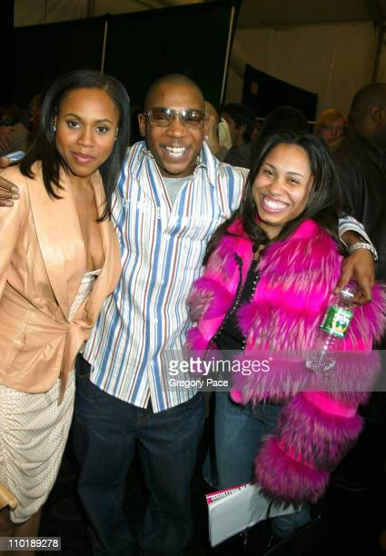 Deborah Cox Ja Rule and wife Aisha Atkins during Olympus Fashion Week Fall 2004 Luca Luca Front Row and Backstage at The Tent at Bryant Park in New...