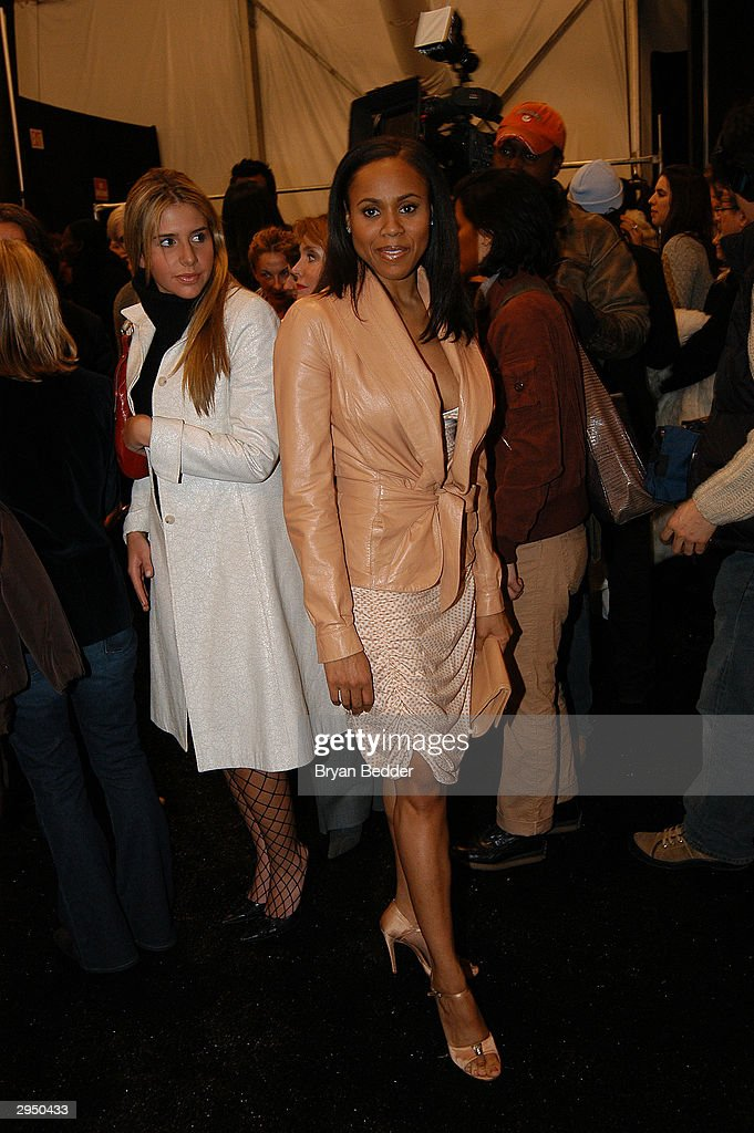 Deborah Cox poses backstage at the Luca Luca fashion show at Bryant Park during the Olympus 2004 Fall Fashion Show February 8, 2004 in New York City.