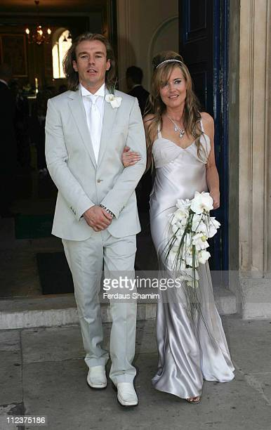 Deborah Curtis and Miles Chin during Deborah Curtis and Miles Chin Wedding at St Marylebone Church in London Great Britain
