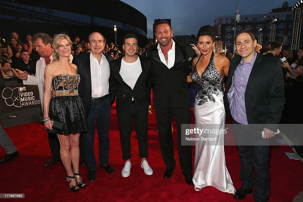 Deborah Dauman, Viacom President and CEO Philippe Dauman, Vinny Guadagnino, Roger Mathews, Jenni 'JWoww' Farley and President of MTV Stephen Friedman attends the 2013 MTV Video Music Awards at the Barclays Center on August 25, 2013 in the Brooklyn borough of New York City.