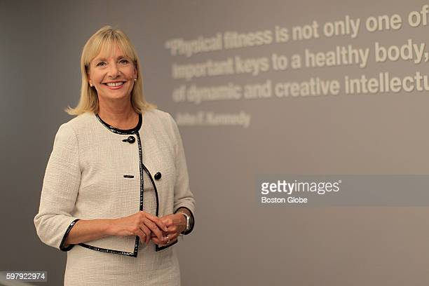 Deborah DiSanzo the general manager of IBM Watson Health poses in the lobby of IBM's new health care division headquartered in Cambridge Mass on Aug...
