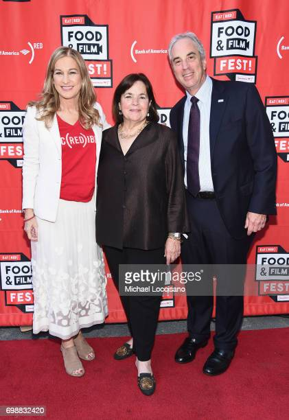 CEO Deborah Dugan chef Ina Garten and Bank of America New York State President Jeff Barker arrive at EAT Food Film Fest at Bryant Park on June 20...