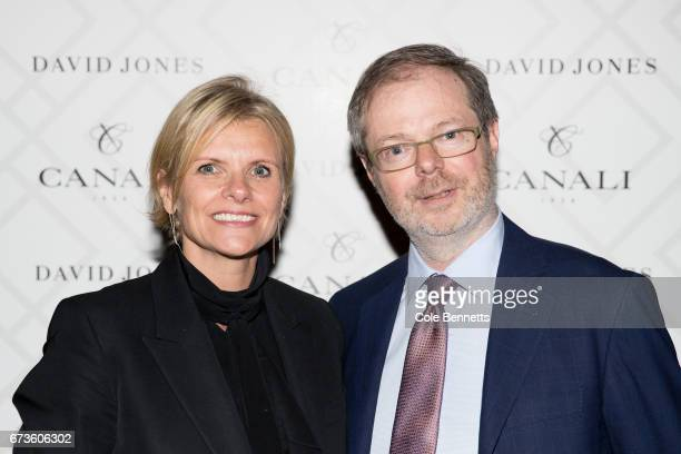 Deborah Foreman and Paolo Canali arrive at the David Jones Canali Launch at Restaurant Hubert on April 27 2017 in Sydney Australia