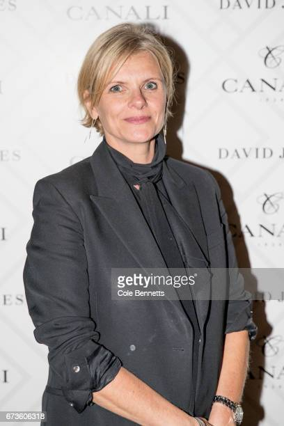 Deborah Foreman arrives at the David Jones Canali Launch at Restaurant Hubert on April 27 2017 in Sydney Australia
