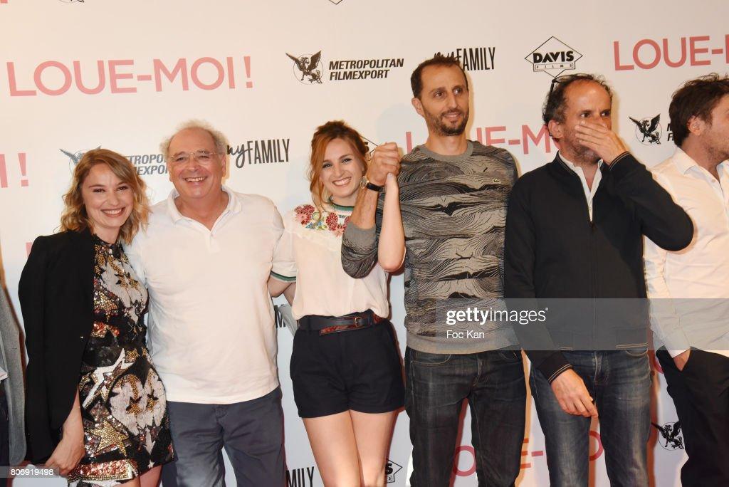 Deborah Francois, Samuel Hadida, Alison Wheeler, Arie Elmaleh and Lionel Abelanski attend Loue Moi Paris Premiere at Gaumont Opera Capucines on July 3, 2017 in Paris, France.