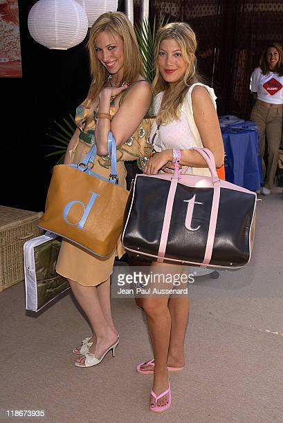Deborah Gibson and Tori Spelling with Jam leather bags Photo by JeanPaul Aussenard/WireImage for Silver Spoon