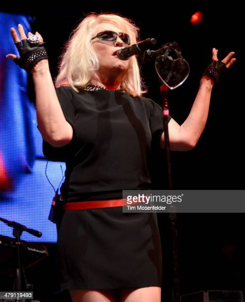Deborah Harry of Blondie performs during Perez Hilton's 7th annual One Night in Austin at the Austin Music Hall on March 15 2014 in Austin Texas