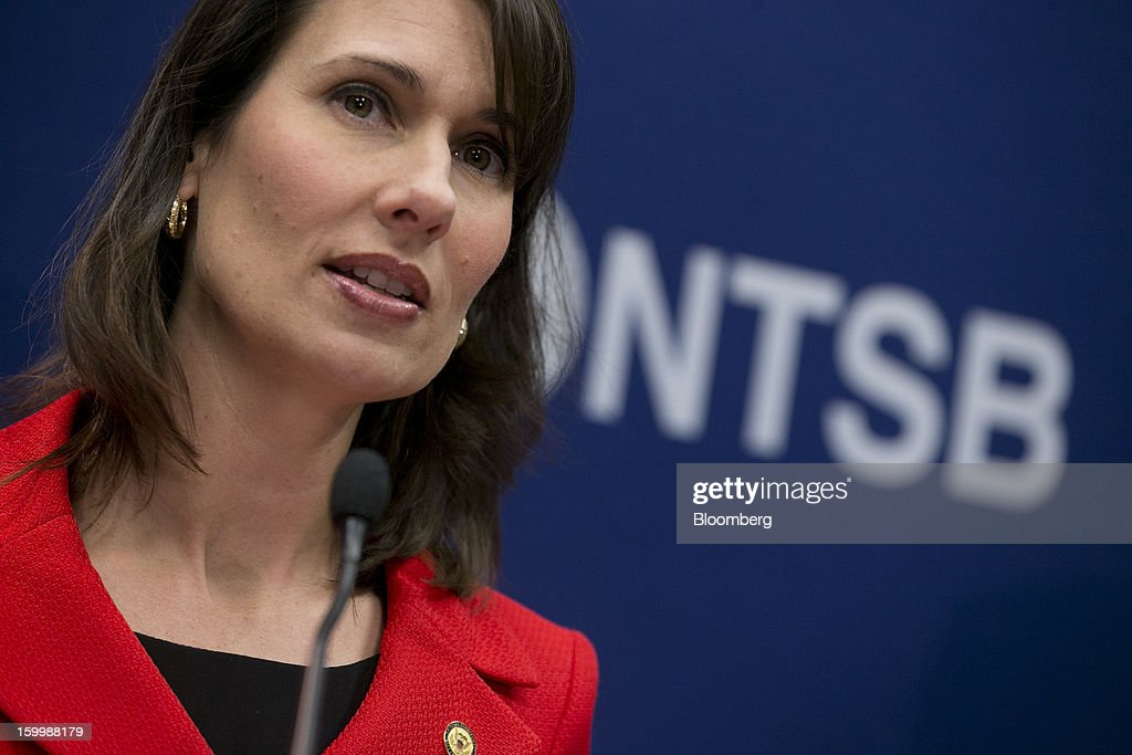 Deborah Hersman, chairman of the National Transportation Safety Board (NTSB), speaks during a news conference in Washington, D.C., U.S., on Thursday, Jan. 24, 2013. The design of Boeing Co.'s Dreamliner should have prevented battery incidents that prompted regulators to ground the plane earlier this month, Hersman said. Photographer: Andrew Harrer/Bloomberg via Getty Images