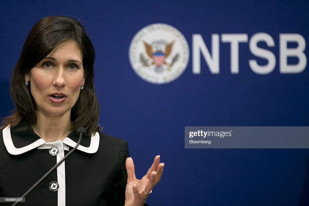 Deborah Hersman, chairman of the National Transportation Safety Board (NTSB), speaks during a news conference in Washington, D.C., U.S., on Thursday, Feb. 7, 2013. The top U.S. transportation safety investigator today questioned the adequacy of tests that prompted U.S. regulators to allow Boeing Co. to use lithium-ion batteries on the now-grounded 787 Dreamliner. Photographer: Andrew Harrer/Bloomberg via Getty Images