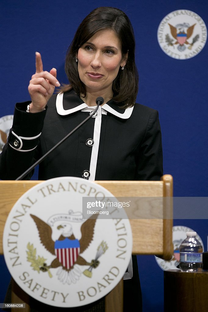 Deborah Hersman, chairman of the National Transportation Safety Board (NTSB), takes a question during a news conference in Washington, D.C., U.S., on Thursday, Feb. 7, 2013. The top U.S. transportation safety investigator today questioned the adequacy of tests that prompted U.S. regulators to allow Boeing Co. to use lithium-ion batteries on the now-grounded 787 Dreamliner. Photographer: Andrew Harrer/Bloomberg via Getty Images