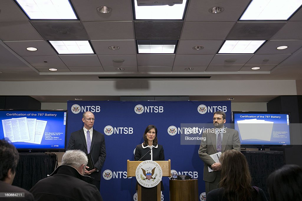 Deborah Hersman, chairman of the National Transportation Safety Board (NTSB), center, speaks during a news conference with John DeLisi, director of aviation safety with the NTSB, left, and Joseph Kolly, director of research and engineering with the NTSB, in Washington, D.C., U.S., on Thursday, Feb. 7, 2013. The top U.S. transportation safety investigator today questioned the adequacy of tests that prompted U.S. regulators to allow Boeing Co. to use lithium-ion batteries on the now-grounded 787 Dreamliner. Photographer: Andrew Harrer/Bloomberg via Getty Images
