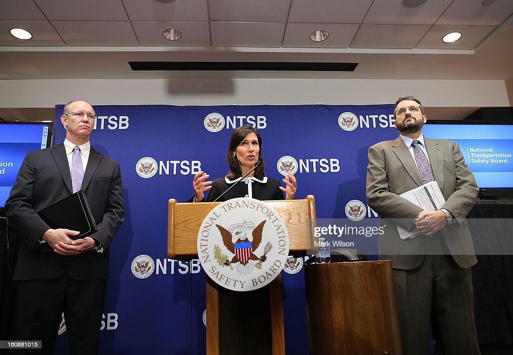 Deborah Hersman, Chairman of the National Transportation Safty Board, NTSB, speaks while flanked by John DeLisi (L), director of the NTSB Office of Aviation Safety, and Joseph Kolly, director of the NTSB Office of Research and Engineering during a news conference at NTSB Headquarters, on February 7, 2013 in Washington, DC. The news conference was held to give a update on the NTSB investigation into the January 7 fire that occurred on a Japan Airlines Boeing 787 at Logan International Airport in Boston.