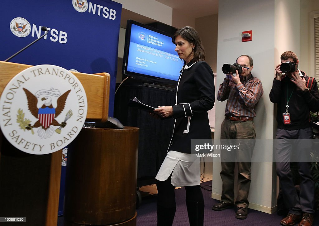 Deborah Hersman, Chairman of the National Transportation Safty Board (NTSB), arrives to speak during a news conference at NTSB Headquarters, on February 7, 2013 in Washington, DC. The news conference was held to give a update on the NTSB investigation into the January 7 fire that occurred on a Japan Airlines Boeing 787 at Logan International Airport in Boston.