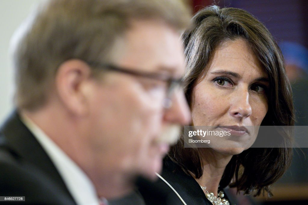 Deborah Hersman, president and chief executive officer of the National Safety Council, right, listens during a Senate Commerce, Science, and Transportation Committee hearing in Washington, D.C., U.S., on Wednesday, Sept. 13, 2017. The hearing is titled, Transportation Innovation: Automated Trucks and our Nation's Highways. Photographer: Andrew Harrer/Bloomberg via Getty Images