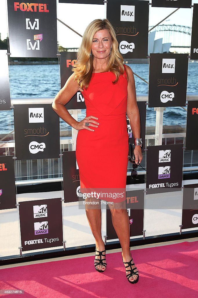 Deborah Hutton arrives at the Foxtel Music Channels Summer Launch at the Botanic Gardens on December 3, 2013 in Sydney, Australia.