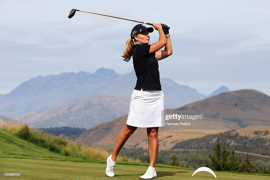 Deborah Hutton tees off during day three of the New Zealand PGA Championship at The Hills Golf Club on March 2, 2013 in Queenstown, New Zealand.