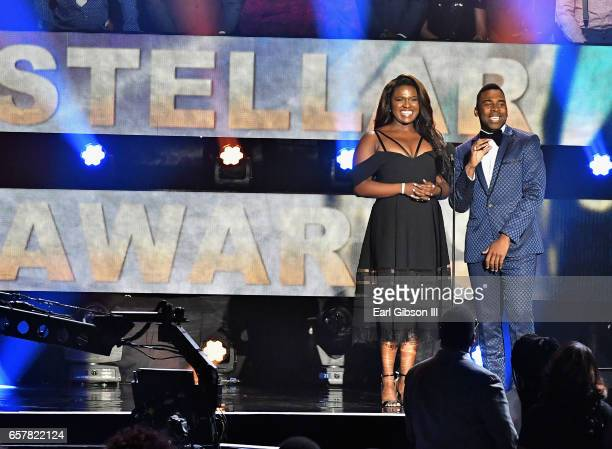 Deborah Joy Winans and MAJOR speak onstage during the 32nd annual Stellar Gospel Music Awards at the Orleans Arena on March 25 2017 in Las Vegas...
