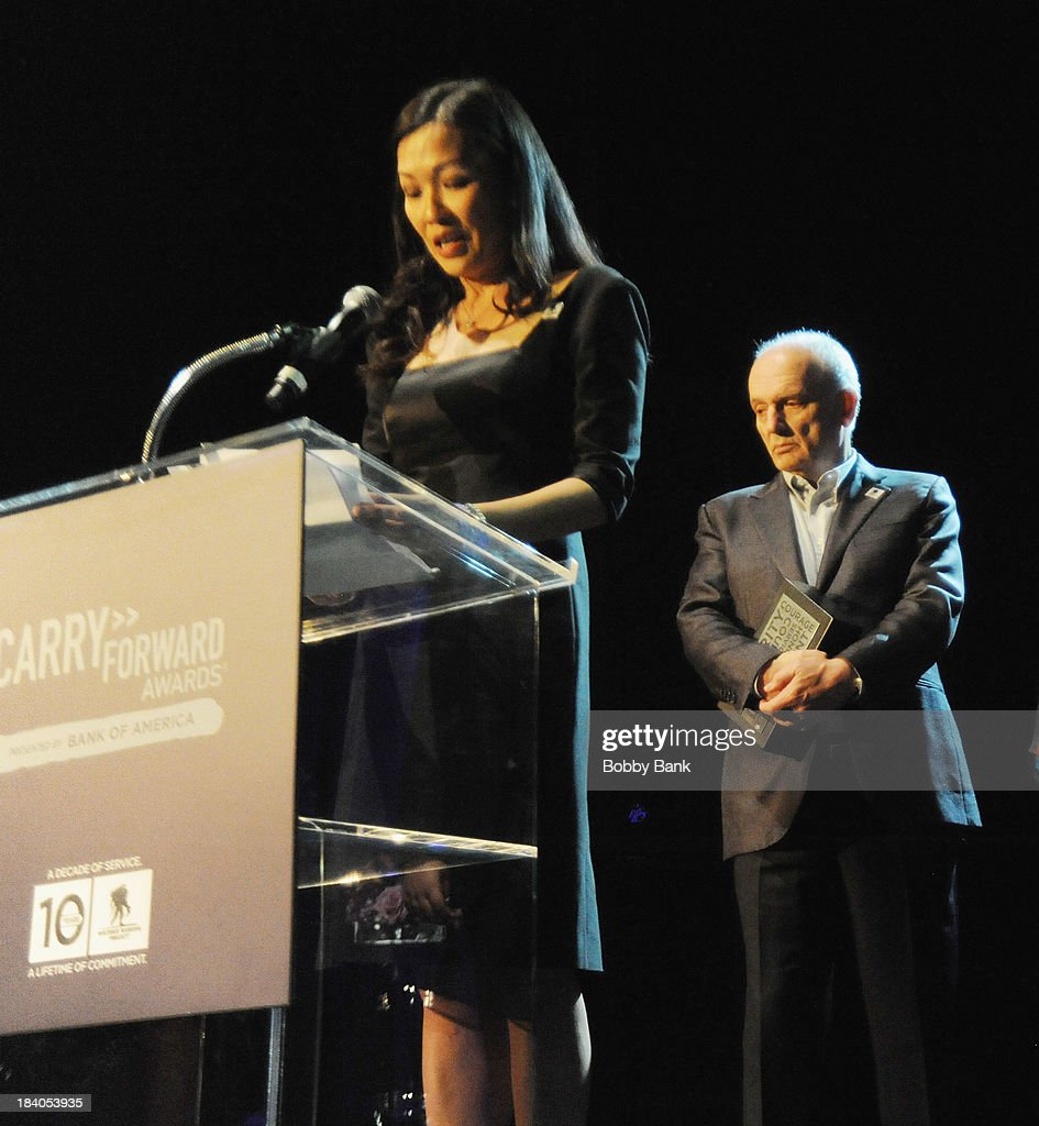 Deborah Lin and David Chase attends the Wounded Warrior Project Carry Forward Awards Show at Club Nokia on October 10, 2013 in Los Angeles, California.