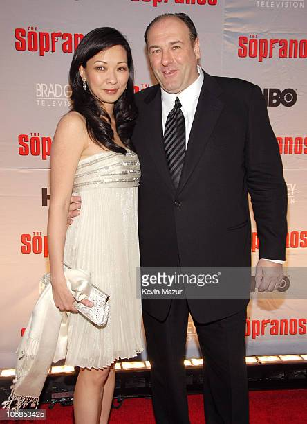 Deborah Lin and James Gandolfini during 'The Sopranos' Final Season World Premiere Red Carpet at Radio City Music Hall in New York City New York...