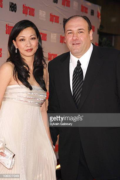 Deborah Lin and James Gandolfini during 'The Sopranos' Final Season World Premiere Arrivals at Radio City Music Hall in New York City New York United...
