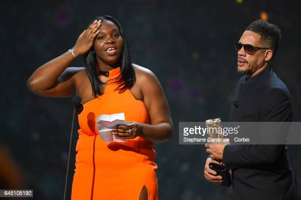 Deborah Lukumuena and Joey Starr during the Cesar Film Awards 2017 ceremony at Salle Pleyel on February 24 2017 in Paris France